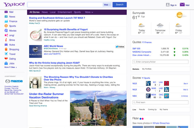Image of ABC Tweet being displayed in the Yahoo news stream