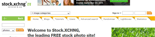 Stock XCHNG Homepage Screenshot